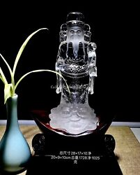 11 Inch Natural Quartz White Crystal China Feng Shui The God Of Wealth Mammon