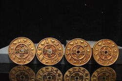 Old China Gold Plated Copper Handmade Carving Chinese Zodiac Coin