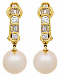Assael 18k White And 18k Yellow Gold Diamond 1.33ct And Pearl Earrings E4601