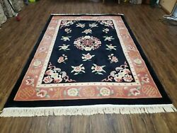 6 X 9 Hand Tufted Wool Rug Chinese Design Black Made In Hong Kong