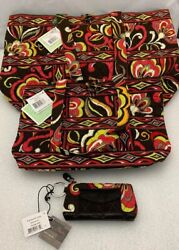 Vera Bradley Puccini Large And Small Tic Tac Tote And Patchwork Coin Key Id Case Nwt