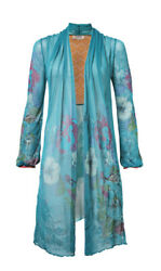 Ivko Long Cardigan Floral Flower Print Petrol Oversize Size 38 Made In Serbia