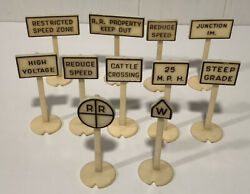 Unbranded Train Sign Set Of 11 Vintage Rr Railroad Signs Plastic 2 3/4andrdquo Tall