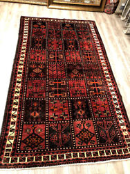 Persian Tribal Shiraz, Red, Orange, And Navy 4.10' X 8-4' Hand Knotted Rug