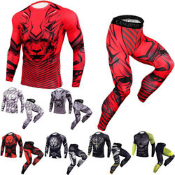 New 2 Pcs Workout Set Long Sleeve Compression Tee Leggings Running Workout Gym