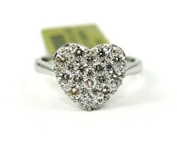 Natural Heart Shape Round Diamond Cluster Ladyand039s Ring 18k White Gold 1.08ct