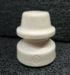 Vintage Ohio Brass Porcelain Insulator And039band039 Bone 3 1/2t X 3 1/4w X 1 3/4opening