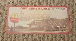 Vintage New Unused 1978/79 Mcdonalds Holiday Xmas 50 Cent Gift Certificate