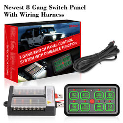 8 Gang Switch Panel Circuit Control W/automatic Dimmable For Marine Car Boat 12v
