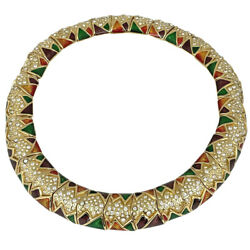 Design Choker Rhinestone Gorgeous Necklace Gold Plated Gold Multic...