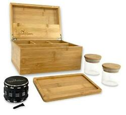 """Large Wooden Stash Box Kit 10""""x7""""x5"""" With Accessories Includes Rolling Tray,"""
