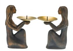 Vintage Pair Of Candlesticks With The Figure Of A Girl, Metal, Ussr 1970-1990