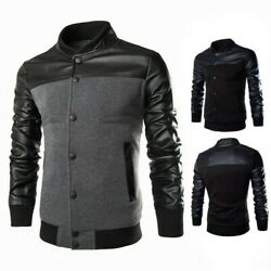 Menand039s Long Sleeve Slim Casual Coat Stand Collar Jacket Single Breasted Outwear