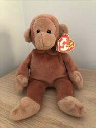 Ty Beanie Baby Bongo - Monkey Tan Tail - China - Mint - Retired With Tags