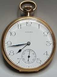 Antique Howard 14k Yellow Gold Pocket Watchworks Great