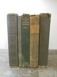 Lot Of 5 Green Antique Vintage Hardcover Books Zoom Decor Display Shabby Bundle