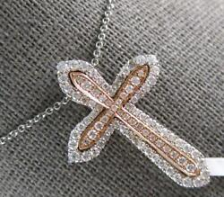 Estate Large .68ct Diamond 14kt White And Rose Gold Double Cross Floating Pendant