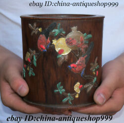 6 Antique Chinese Huanghuali Wood Inlay Shell Flower Bird Brush Pot Pencil Vase