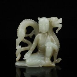 Chinese Exquisite Handmade Dragon Luohan Carving Hetian Jade Statue