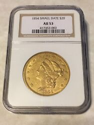 1854 Au53 Ngc Liberty Double Eagle Type 1 20 Gold Coin Great Appeal No Pcgs