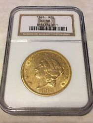 1865 Au50 Ngc Liberty Double Eagle Type 1 20 Gold Coin Great Appeal No Pcgs