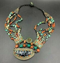 Antique Hand Made Nepali Tibetan Vintage Jewelry Silver Coral Turquoise Necklace