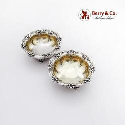 Large Floral Open Salt Dishes Pair Gilt Interior Sterling Silver London 1835