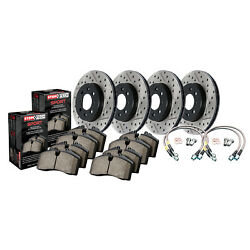 Stoptech 978.40022 Sport Rotors/pads/hose Line Kit Drilled/slotted Black