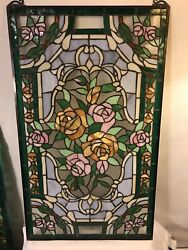 Vintage Stained Glass Beautiful Panel 20x35 No Damage.c12pix4closeups.make Offer