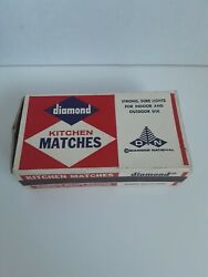 Vintage Diamond Match Boxes Wood Kitchen Matches Red/white Tip