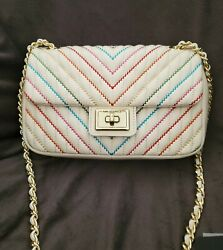 New With Tags Karl Lagerfeld Agyness White Rainbow Quilted Leather Handbag