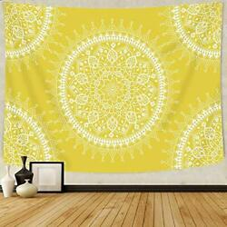 Bohemian Tapestry Mandala Hippie Popular Wall medium 59 x 51 in Yellow