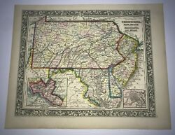 Usa Pennsylvania New Jersey Maryland Delaware 1860 Mitchell Large Antique Map
