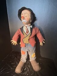 Vintage 1950s Emmett Kelly 'weary Willy' Clown Doll By Baby Barry Toys