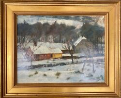 Anthony Thieme 1888-1954 Winter Landscape Oil Painting On Board Signed Artwork