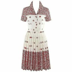 Emilio Pucci C.1960andrsquos Red White Floral Button Up Pleated Short Sleeve Day Dress
