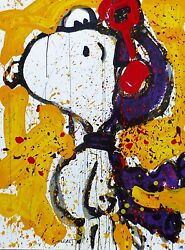 Tom Everhart To Remember... The Salute Yellow Peanuts Cool Snoopy Hand Signed