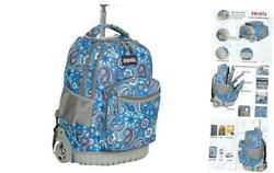 Zovota Rolling Backpack for Boys and Girls Wheeled Backpack Laptop Blue Paisley $112.99