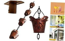 Butterfly 8.5ft Large Iron Rain Chains For Drain Gutter Through Downspouts And