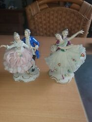 Dresden Porcelain Lady Figurines..dresden Lace