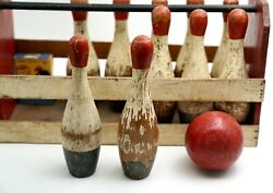 Antique Wooden Red Top Mini Bowling Set Game W/carrier Box Pins -- 8 1/4 H