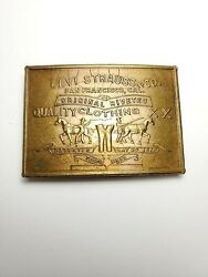 Vintage Brass Belt Buckle Levi Strauss And Co San Francisco Mint Condition