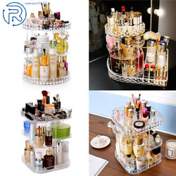 360 Degree Rotating Clear Makeup Cosmetic Rack Organizer Holder Storage Box Case $27.69