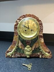 Stunning Antique French Marble Mantle Clock Quality Arts And Crafts/deco Dial