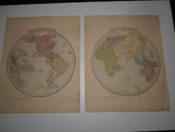 Eastern And Western Hemisphere Maps From Bradford And Goodrich Atlas 1841