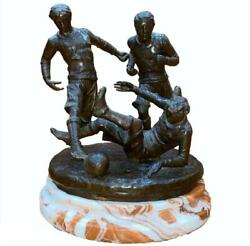 Vintage Bronze Figure Of Victorian Football Soccer Players Marble Base Sculpture