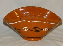 Vintage Portuguese Terra Cotta Pottery Rice Bowl Red Clay Flower Design '61