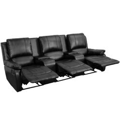 Allure Series Reclining Back Pillow 3-seat Leather Theater With Cup Holders