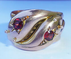 Antique Art Deco C.1919 9ct Rose Gold And Garnet Double Snake Ring, Size T