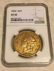 1860 Xf45 Ngc Liberty Double Eagle 20 Gold Coin Sharp Details No Pcgs